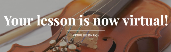 Homepage update about music lessons going virtual with a button linking to FAQs