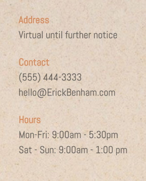 Contact info for a violin instructor, location is virtual until further   notice