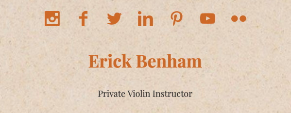 Links to social media platforms for a violin instructor.